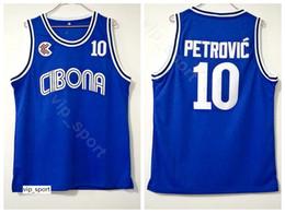 Petrovic trikot online-Cibona Zagreb College Drazen Petrovic Trikot 10 Männer Mannschaftsfarbe Blau Universität Petrovic Basketball Trikot Uniform Atmungsaktiv Gute Qualität