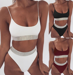 Блестящие купальники онлайн-Lady Sexy Swimwear High Waist Bikini Summer Beach Pool Solid Color Shiny Item Attached Swimsuits Two Pieces Set