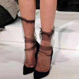 2019 calze ultra sottili da donna Trasparente Mesh Lace Calze signore delle donne ultra-sottile garza della principessa Socks Sox femminili calze ultra sottili da donna economici