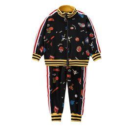 ropa deportiva casual niños Rebajas Chándal para niños de dibujos animados trajes casuales para niños ropa de diseñador para niños ropa deportiva para niños chaqueta + pantalón traje de sudadera ropa de diseñador para niños A6860