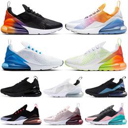 novo arco íris aumentou Desconto 2019 nike air max 270 tênis para mulheres dos homens top quality triplo preto branco tigre LUZ osso violeta BARELY ROSE respirável mens formadores sports sneakers