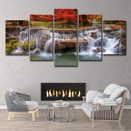Cachoeiras lona de óleo on-line-5 pcs árvore lago cachoeira paisagem pintura a óleo cartaz arte da parede hd impressão pintura da lona de moda pendurado fotos