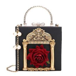 Bolsas de pérolas vintage on-line-Barroco Embossed Box Mulheres Handbag Flor Vintage Lady Crossbody Bolsas de pérolas Cadeia Mensageiro de luxo Pu Bolsa de Ombro Pequenas bolsas