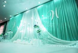 2020 decoraciones para telón de escenario. 3 * 6 m Fondo de celebración del escenario de la fiesta de bodas Cortina de satén Drapeado Pilar Telón de fondo Decoración de matrimonio Velo decoraciones para telón de escenario. baratos