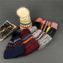 elástico ao ar livre Desconto Rainbow Stripe Knit Beanie Hat Moda Doce Cor Borda Laminada Chapéu de Crochê Ao Ar Livre Inverno Quente Elastic Ski Cap TTA1684