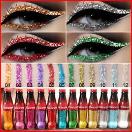 Eye-liner chatoyant en Ligne-Cmaadu Blanc Or Coloré Diamant Glitter Eyeliner Liquide Facile à Porter Beauté Étanche Shimmer Eye Liner Maquillage 12 Couleurs