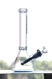 Bang de peinture en Ligne-Black Beaker Bong 11 pouces hauteur 14,4 mm joint Recycler Dab Rigs Bongs de verre avec downstem et bol belle peinture pipes à eau