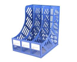 2019 arquivos de caixas de armazenamento Material de escritório de armazenamento de armazenamento triplo A4 rack de arquivo de informações de arquivo caixa de arquivo de arquivo de papelaria coluna de plástico arquivos de caixas de armazenamento barato
