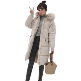 Abrigo largo de parka online-2019 de invierno nuevo otoño suelta Mujeres parka Outwear la capa de la chaqueta de manga larga hasta la rodilla longitud media caliente grueso algodón de la manera
