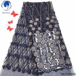фиолетовый высококлассный стиль блестки кружевной ткани блестками вышитые гипюр чистой кружева африканских свадебные платья швейные сетки Materia ML35N49 от