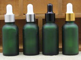 Flacon compte-gouttes en verre vert dépoli de 30 ml 1 ml d'huile essentielle en verre dépoli e bouteille liquide avec capuchon or argent noir blanc ? partir de fabricateur