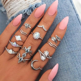 I monili geometrici del modello online-Nuovo design Vintage Opal Knuckle Ring Set per le donne Boho Geometric Pattern Fiore Anelli Party Jewelry 12PCS / Set
