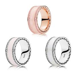 2019 anello rosa pandora Hearts Band Rings Ladies Luxury Argento sterling 925 Pink White Smalto Anelli Spinello sintetico Fit Pandora Silver Jewelry Women Wedding Ring anello rosa pandora economici