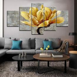 2019 fotos de flores de orquidea 5 piezas de arte de pared enmarcado oro orquídea flor pared arte cuadros para sala decoración carteles e impresiones lienzo pintura fotos de flores de orquidea baratos
