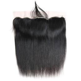 Piezas de pelo de seda de encaje de cierre online-Encaje recto Cierre frontal 13x4 Oreja a oreja Pieza de cierre Seda de Malasia Recta 8A Cierre de encaje frontal de cabello humano Color natural