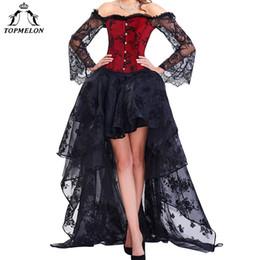 Topmelon Steampunk Korsett Kleid Bustier Gothic Korsett Sexy Korsetts Frauen Lace Off Schulter Floral Party Hot Lange Kleider J190701 von Fabrikanten