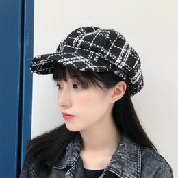 Chic ekose bere sonbahar ve kış vahşi sekizgen kap Japon İngiliz ressam şapka donanma retro şapka cheap cap japanese hats nereden japon şapkalı şapka tedarikçiler