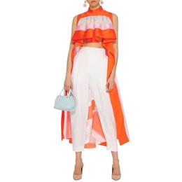 Maxi vestidos de marca online-Diseñador de la marca Mujeres Vestidos de Pista 2019 Verano Nueva Moda Cuello Redondo Sin Mangas Rayado Maxi Irregular Vestidos de Fiesta Batas
