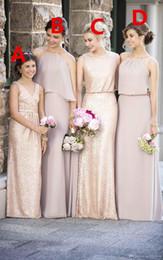 Wholesale Mantel Rose Gold Pailletten Brautjungfernkleider verschiedene Stile gleiche Farbe lange Mutter Tochter V Ausschnitt Blumenmädchenkleider