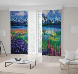 Paysage vert peinture à l'huile en Ligne-Montagnes enneigées et lac Coloré de fleurs sauvages Vue Paysage Peinture à l'huile en bleu vert Rideau violet