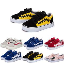 f08051152487f Designer Original Vans vieux skool sk8 Salut enfants chaussures garçon  fille bébé chaussures toile baskets fraise mode skate casual chaussures  taille 22-35 ...
