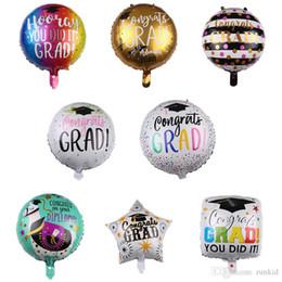 2019 globos de graduación Nuevos globos de aluminio graduados de 18 pulgadas para la ceremonia de graduación con decoración de fiesta de cumpleaños infantil de globos de peluquería doctoral rebajas globos de graduación
