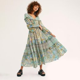 hippie clothes Promo Codes - Floral Ruffle Chic Midi Dress Women Vintage Long Sleeve V neck Summer Dresses Boho Printed Beach Hippie Party Dress 2019 Clothes