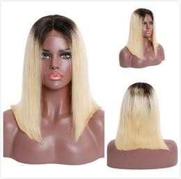 2019 penteados curtos para onda profunda negra Hetero Bob Wig 1B 613 Ombre Cabelo Humano Curto Pixie rendas frente perucas para mulheres negras Colorido loira Bob Wig Pré arrancada indiano peruca cheia do laço