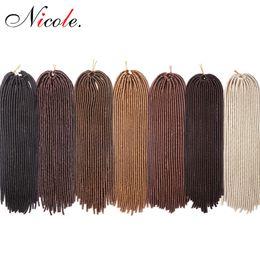 cabelo kanekalon tece Desconto Nicole 20 Polegadas Faux Locs Crochet Cabelo Kanekalon Pré Extensões de Cabelo Trançado 20 Fios Tecer Cabelo Sintético