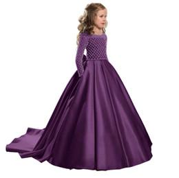 Vestido de manga longa elegante para crianças on-line-Nova 2019 de Verão da dama de honra Long Sleeve Dress elegante traje dos miúdos vestidos para meninas partido das crianças do vestido de casamento para meninas
