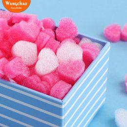 2019 ama la scatola del fiore del cuore 50pcs / bag Gift Box Fluffy Slime Filler Sludge Clay Pink Heart Love Beads Foam Strip Slime Bomboniere fai da te Flower Box Filler ama la scatola del fiore del cuore economici