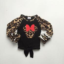 2019 черные галстуки для детей осень / зима новорожденных девочек детская одежда бутик галстук узел футболка реглан с длинным рукавом черный леопардовый лук молочный шелк хлопок дешево черные галстуки для детей