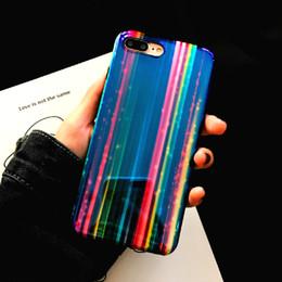 2019 iphone bleu 3d case Designer de luxe 3D Rainbow Motif Blue Ray Couverture de téléphone pour IPhone X XS 7 6 6s 8 Plus I promotion iphone bleu 3d case