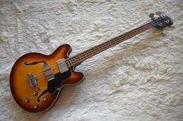 Cuerda de guitarra bajo hueco online-Fábrica Semi-hueco Tobacco Sunburst bajo eléctrico con 4 cuerdas, chapa de arce flameado, Pickguard negro, alta calidad, se puede personalizar