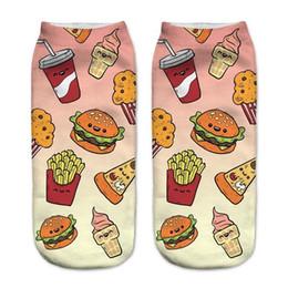 2019 chaussettes à papillon en gros Happy Socks 2019 New Sushi Pizza Imprimer Chaussettes 3D Femmes Kawaii Calcetines Femme Filles Mignon Casual Drôle 6 Couleurs