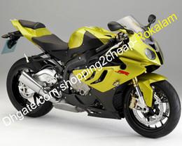 2020 bmw s verkleidung Für BMW S1000RR Cowlings 2010 2011 2012 2013 2014 S 1000RR S1000 RR Gold Schwarz Motorrad Verkleidung Kit (Spritzguss) rabatt bmw s verkleidung