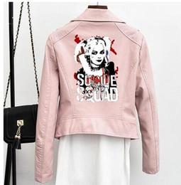 chaquetas cortas de cuero de las niñas Rebajas moda Chaqueta corta para mujer Suicide Squad Leather Girl Heroine Negro Chaqueta rosa Manga corta para mujer