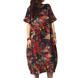64fe0b0964c49 Robe surdimensionnée pour femmes robe en lin d'été grande taille  occasionnels lâche imprimer manches courtes taille Plus Boho femmes S-5XL  promotion robes ...