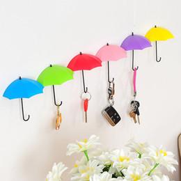 Llaves decorativas ganchos online-Paraguas en forma de ganchos de pared 3 unids / set Dual Key Hanger Rack Holder para cocina habitación baño pared organizador decorativo HH9-2251
