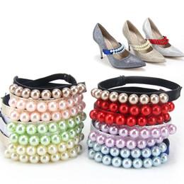 décoration de sangle de chaussure Promotion 1 paire de lacets de lacets de perles, accessoires de chaussures sangles de décoration pour les femmes, chaussures en dentelle pour chaussures lâches 7 couleurs