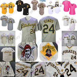 Pull jaune en Ligne-Barry Bonds Jersey 2019 New Pittsburgh Cooperstown Pirates Gris Pinstripe Jaune Noir Pull Home Loin Base Cool Tout Cousu Pas Cher