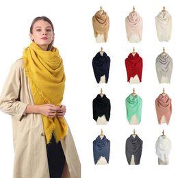 2019 bufanda de pashmina color sólido Moda mujer bufanda cuadrada 140 * 140 cm color sólido borla bufanda larga de gran tamaño invierno cálido chal envuelve manta de pashmina TTA1741 bufanda de pashmina color sólido baratos