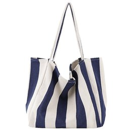 striped cotton canvas tote bags Coupons - Women Canvas Shopping Bag Blue Striped Vintage Ladies Chic Casual Shoulder Bag Foldable Reusable Cotton Female Tote Handbag