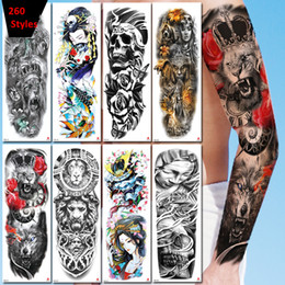 Tatuagens corpo inteiro on-line-mangas 260 Estilos completos Tatuagens temporárias 3d impermeável Tattoo Etiqueta Festival partido Personalidade adesivo arte braço corpo tatuagem 48 * 17 centímetros