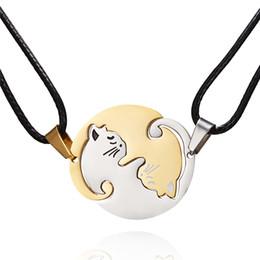 Colar dos amantes de yin yang on-line-Yin yang pet cat puzzle peça de correspondência pingente de colar animal amante presente