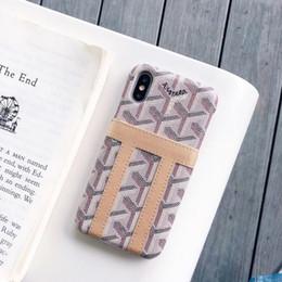 2020 una parte posteriore della tasca casse del telefono del progettista di lusso un pezzo solo per iPhone x 8 più copertura posteriore della cassa Imprint famoso caso logo telefono con la tasca di carta per i regali una parte posteriore della tasca economici