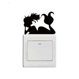 wall stickers mermaids Promo Codes - KG-241 Mermaid Laying On Light Switch Sticker Cartoon Mermaid Wall Stickers