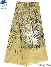 tessuto di sequin giallo Sconti Tessuto africano francese del merletto giallo paillettes tessuto africano del merletto di alta qualità con paillettes 5 yards bianco sequin tessuto di pizzo ML3N226