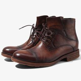 botas de invierno para hombre al estilo. Rebajas Hombres Otoño e Invierno Martin Botas Cremallera Cabeza redonda Retro Hombres Botas Estilo británico Hombres Zapatos