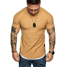 2019 schlichte hemdfarben Sommerkleidung Muscle Plain Tee 5 Farben Werkzeug Herren Slim Fit O-Ausschnitt Falten Tee Lässige Kurzarm T-Shirt Falten Tops günstig schlichte hemdfarben